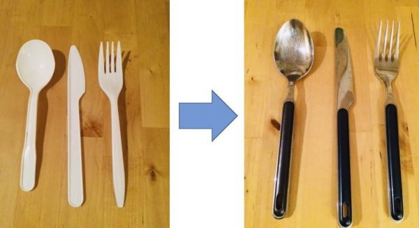 Photo depicting using plastic cutlery, to replacing it with reusable cutlery.