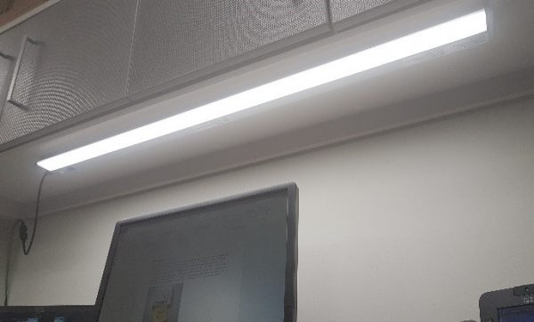 Photo of a very modern LED light in a Sheridan classroom.