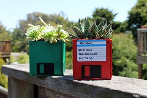 Floppy disk planters.