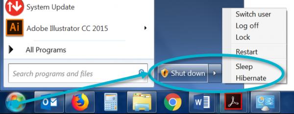 Screenshot of a windows computer. Clicking START, SHUT DOWN, SLEEP/HIBERNATE.