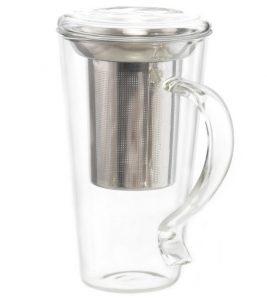 Photo of a a tea mug with a tea leaf filter.