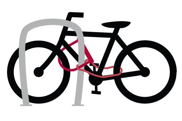 Photo of a bike attached to a bike ring with a lock.