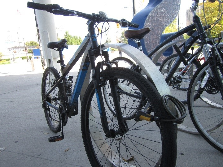 Low security bike locking - the lock is only attached to the bike wheel.