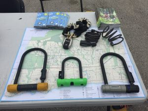 Photo depicting the different types of bike locks available and on the market.