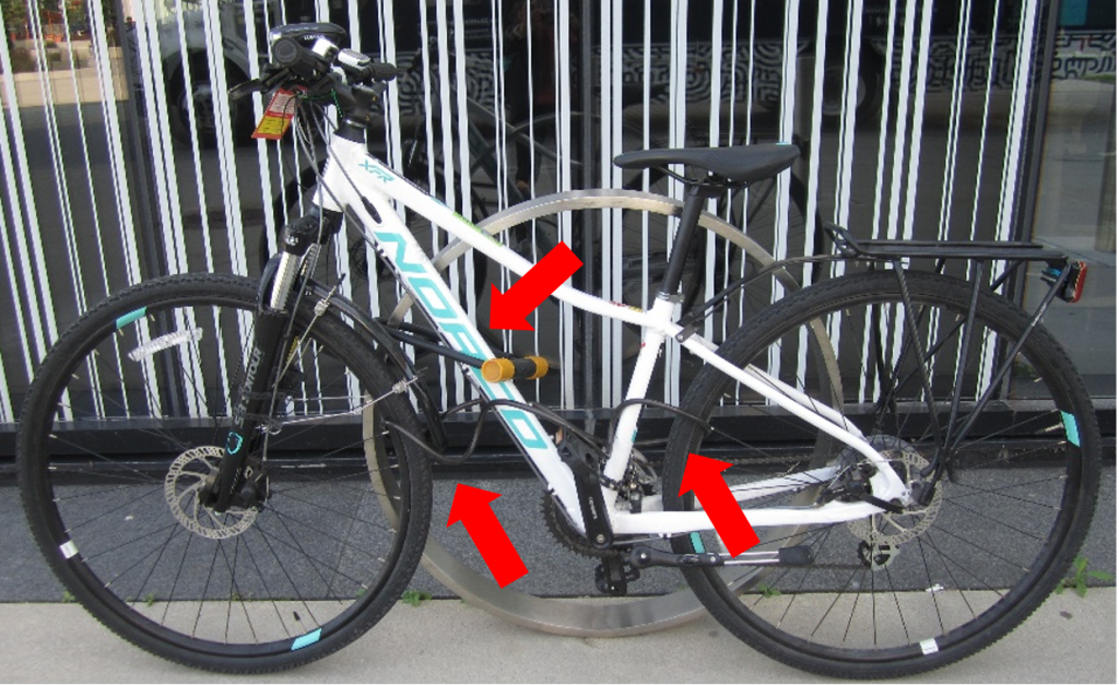 High Security - Three different bike locks attach to differing parts of the bike (wheels, frame).