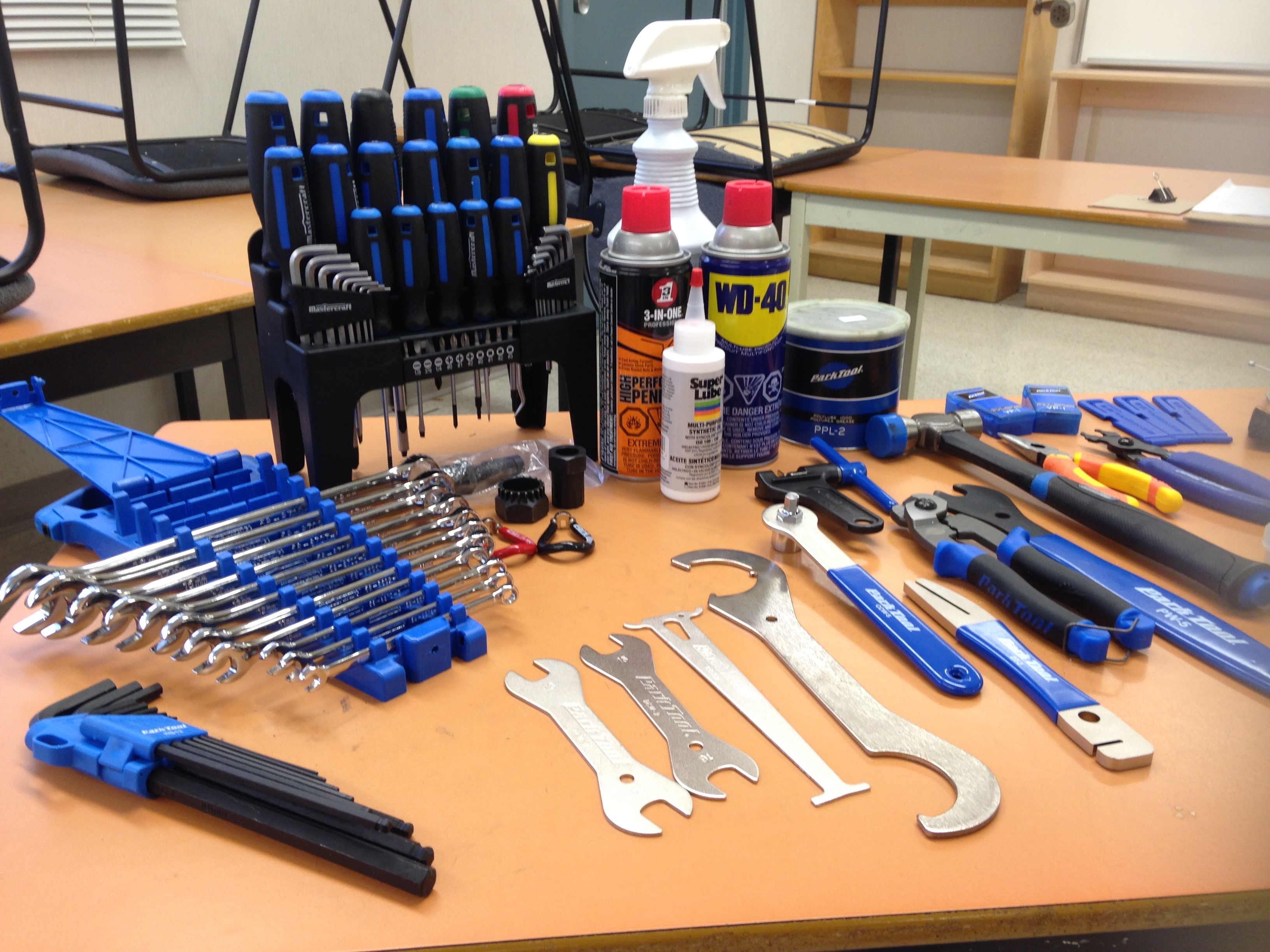 Closeup of bicycle repair tools often used.