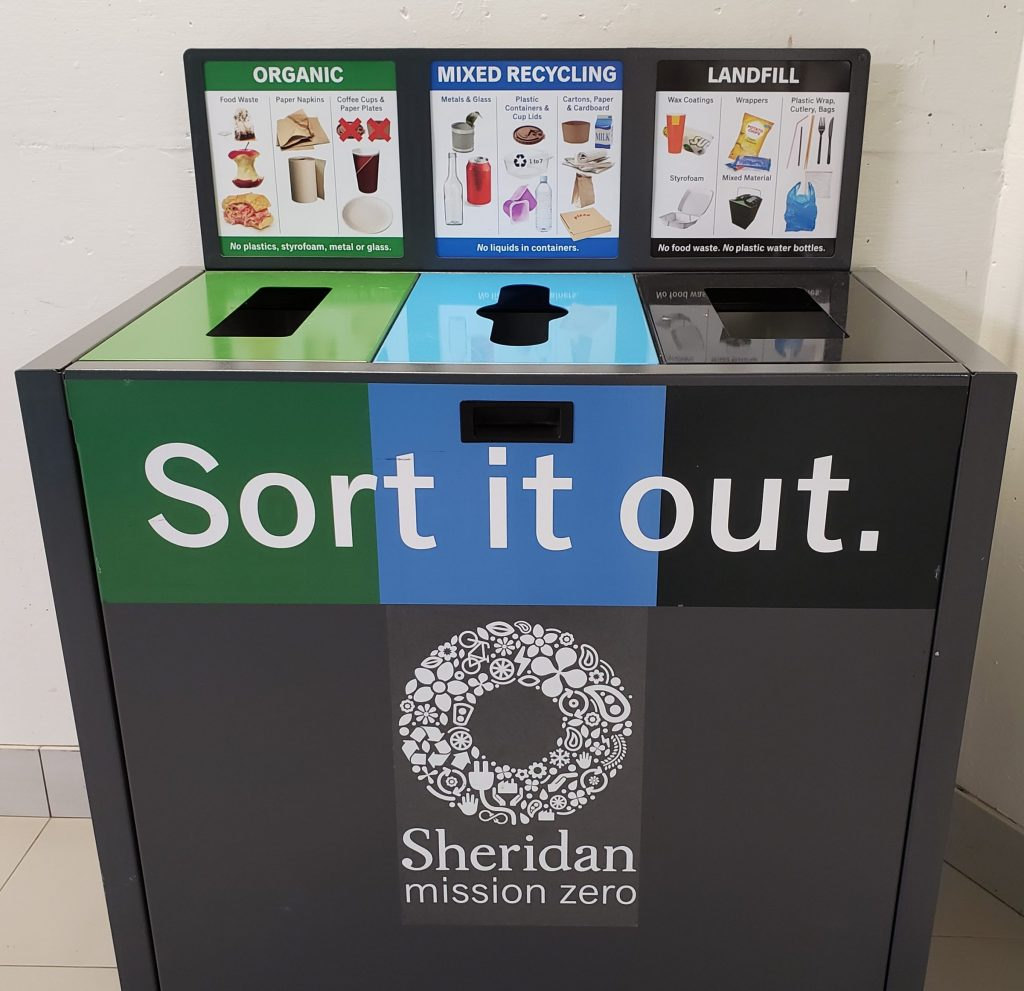 Photo of the new Sort It Out waste bins at Sheridan.